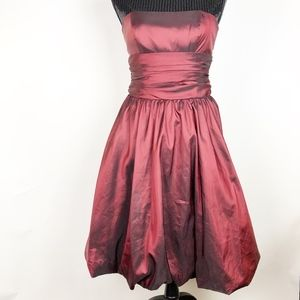 David's Bridal Size 4 81255 Red Wine Taffeta Dress